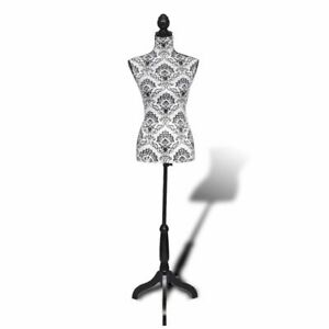 Lady Mannequin Bust Window Torso Dress Form Display Black white W Tripod Stand