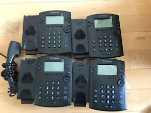 Lot Of 4 X Polycom Vvx300 Series Ip Phones With One Handset No Stands