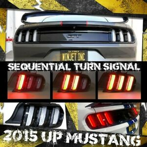 For 2015 2020 Ford Mustang Euro Led Sequential Turn Signals Tail Lights Lamps