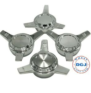 3 Bar Cut Straight Chrome Knock off Spinner Caps For Lowrider Wire Wheels