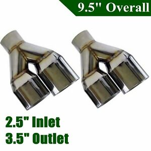 2x Sliver Staggered Stainless Exhaust Duo Polished Tip 2 5 in 3 5 out Left Right