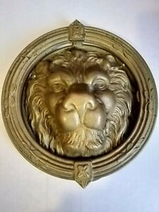 Vintage Antique Victorian Figural Lion Head Door Knocker Brass Architectural