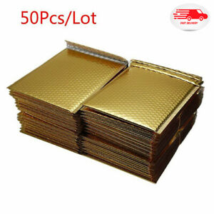 50pcs Gold Plating Bubble Envelopes Bags Mailers Padded Shipping Mailing Bag New