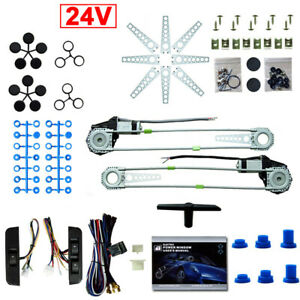 Universal Electric Power Window Lift Regulator Conversion Kit 2 Door Switches