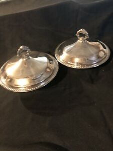 Vintage F B Rogers Silver Plated Round Dish Bowl Casserole W Lid Lot Of Two
