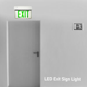 Green Letters Emergency Mirror Panel Exit Sign Wall Light