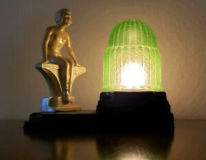 Vintage Art Deco Nuart Nude Woman On Bench Lamp