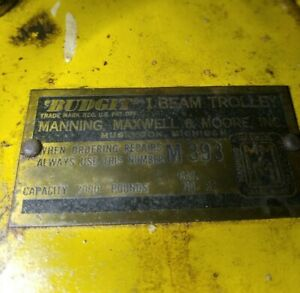 Budgit I beam Manual Trolley 2000 Pounds M 393