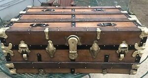 Trunks N Treasures Refinished Flat Top Trunk Antique Chest W Original Lock