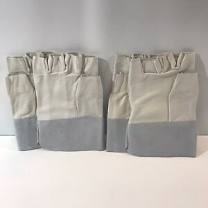 Two Pairs Of Leather Fingerless Work Gloves Size Large