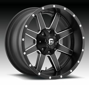 4 New 24x14 Fuel Maverick Black Milled Wheel rim 8x165 1 8 165 1 24 14