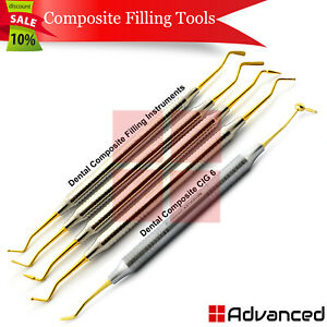 Dental Composite Instruments Cig 6 Titanium Gold Plastic Filling Restoration Kit