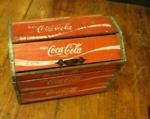 "Coca Cola Wooden Crate Chest Collectibles Rare  14"" Tall Furniture Charleston SC"