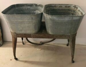 Vintage Galvanized Steel Double Wash Tubs Planters Flower Pot Reeves Sink