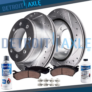 Front Drilled Brake Rotors Ceramic Pads 2003 2017 Chevy Gmc Express Savana 2500