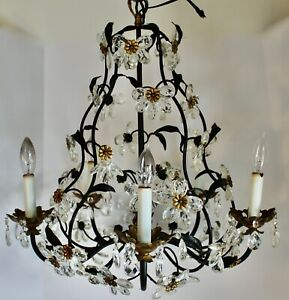 Rare Antique French Vtg Crystal Chandelier Pendant Maison Bagues Flowers Prisms