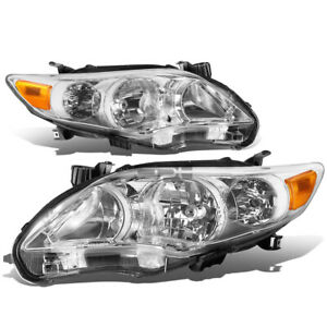 Fit 2011 2013 Toyota Corolla Pair Chrome Housing Amber Corner Headlight lamp Set