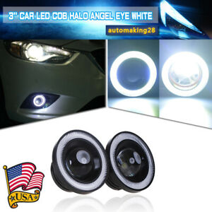 3 Inch Cob Led Fog Light Projector Car Lamp White Halo Angel Eye Ring Drl Bulb