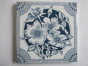 Antique Victorian Blue Wild Roses Transfer Print Tile Wedgwood C1870 90 8870