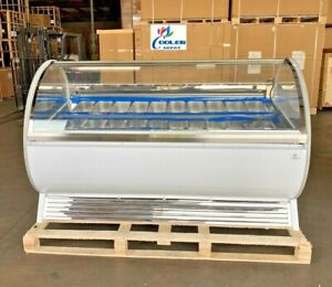 New 20 Pan gelato Ice Cream Dipping Cabinet Freezer Display Cases Chest Nsf Etl