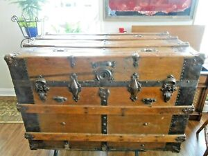 Victorian Antique Pearless Self Lifter Steamer Trunk Pine Wood Dated 1905