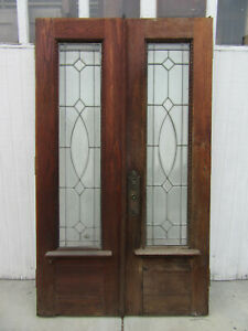 Antique Oak Stained Glass Double French Doors All Beveled 47 X 81 Salvage