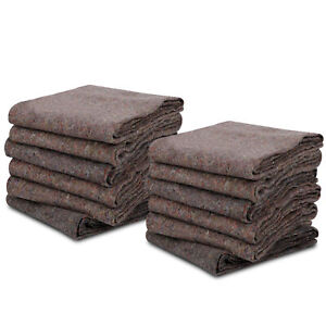 12 Moving Blankets Furniture Pads Ultra Thick Pro 54 X 72 Grey Textile Skins
