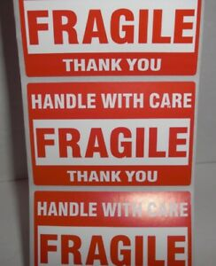 Fragile Handle With Care Thank You 2x3 Red Sticker 100 Or 500 Labels