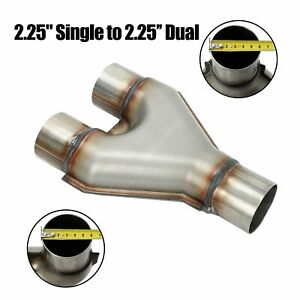 Y Pipe Stainless Exhaust 2 1 4 Single To 2 25 Dual Adapter Connector