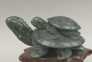 Chinese Old Natural Hetian Jade Hand Carved Statue Dragon Tortoise 2 8 Inch