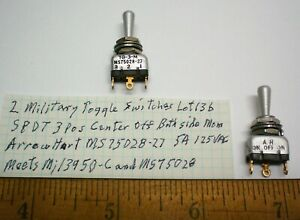 2 New Military Toggle Switches Spdt Arrow H ms75028 27 Lot 136 Made In Usa