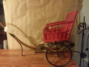 Vintage Wicker Wood Canvas Pram Baby Doll Carriage Buggy Stroller