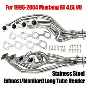 For 1996 04 Mustang Gt 4 6l V8 Exhuast Maniford Stainess Stell Long Tube Header