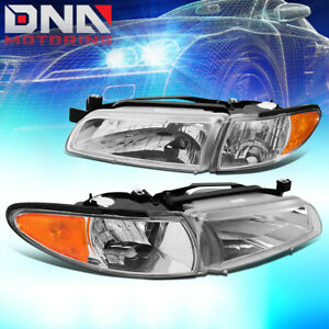For 1997 2003 Pontiac Grand Prix Factory Style Chrome Amber Side Headlight Lamps