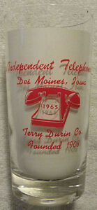1965 Iowa Independent TELEPHONE  Des Moines IA Terry Durin Co. Phone Glass