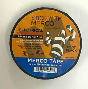 Merco M307 All Weather Electrical Tape 3 4in X 66ft Black 50 Roll Conveni
