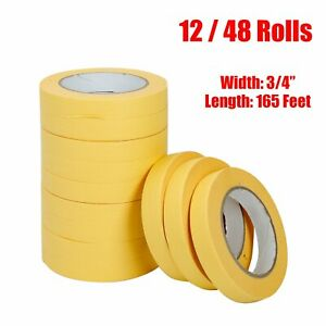 06652 Crepe Paper Automotive Refinish Masking Tape 3 4 Inch 12 48 Pack Yellow