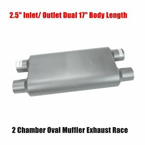 2 Chambered 2 5 Dual Inlet Dual Outlet 23 Long Offset Performance Race Muffler