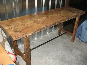 Industrial Antique Console Table Kitchen Island W 2 5 Thick Top 75 X28 X 34 T