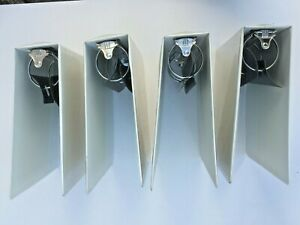 Lot 4 White 3 ring 3 Binders Clear Overlay On Face And Spine 2 Inside Pockets