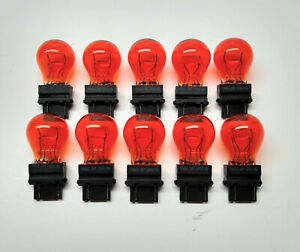 Bulk Lot Of 10 3157 Amber Turn Signal Parking Drl Light Bulbs Fast Usa Shipping