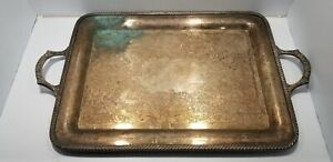 Antique Large Wm Rogers Silver Plate Serving Tray With Handles Huge 26 X 15 5