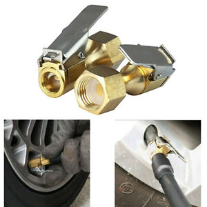2pcs Tire Inflatable Straight Brass Open Flow Air Chuck Lock On Clip 1 4 Npt Us