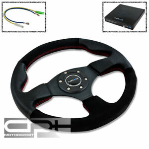Nrg 320mm 6 hole Racing Steering Wheel Black Suede Leather Grip Red Stitch horn