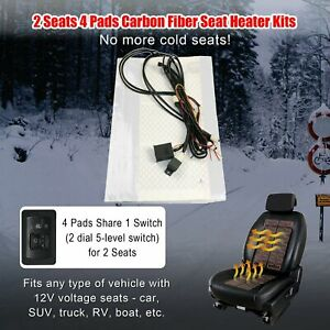 Carbon Fiber 5 level Switch Seat Heater 2 Seats Heated Seat Kit Fit12v Car 4 Pad