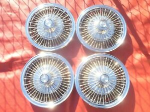 Vintage Nos 1967 69 Chevy Corvair Wire Spinner Hubcaps Wheel Covers