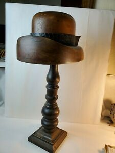 Antique Wooden Millinery Hat Block Mold W Stand
