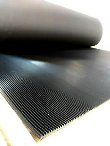Rubber Single Floor Mat 1 8 thk X 36 W X 72 L Roll v Corrugated One Side