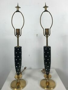 1950 S Tommi Parzinger Rhinestone Studded Lamps Hollywood Regency Atomic