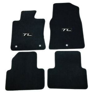For 09 14 Acura Tl Floor Mats Carpet Front Rear Nylon Black W White Tl